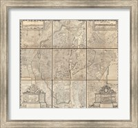 1652 Gomboust 9 Panel Map of Paris, France Fine Art Print