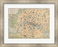 1890 Guilmin Map of Paris, France with Monuments Fine Art Print