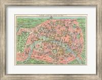 Map of Paris circa 1931 including monuments Fine Art Print