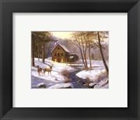 Log Cabin with Deer Fine Art Print