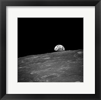 The first photograph taken by humans of Earthrise during Apollo 8. Fine Art Print