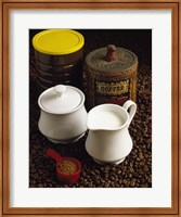 Close-up of a mug of milk with a measuring spoon and jars on coffee beans Fine Art Print