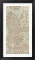Tinted Map of Boston Fine Art Print