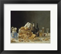 Still Life with Wine Bottles and Basket of Fruit, 1857 Fine Art Print
