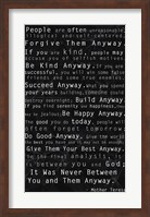 Mother Teresa Quote Black Fine Art Print
