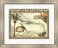 Tropical Map of West Indies Fine Art Print