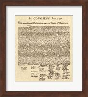 Declaration of Independence Khaki Fine Art Print