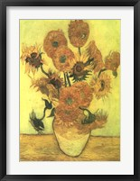 Still Life, Vase With Fifteen Sunflowers Fine Art Print