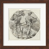 A Flutist and Drummer Before a Moated Castle Fine Art Print