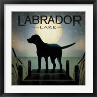 Moonrise Black Dog - Labrador Lake Fine Art Print