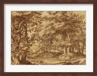 Forest Landscape with a Distant Castle Fine Art Print