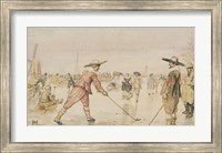 A Winter Scene with Two Gentlemen Playing Colf Fine Art Print