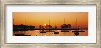 Silhouette of sailboats in a lake, Lake Michigan, Chicago, Illinois, USA Fine Art Print