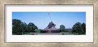 War memorial with Washington Monument in the background, Iwo Jima Memorial, Arlington, Virginia, USA Fine Art Print
