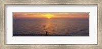 Sunset over a lake, Lake Michigan, Chicago, Cook County, Illinois, USA Fine Art Print