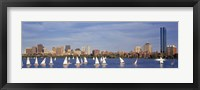 View of boats on a river by a city, Charles River,  Boston Fine Art Print