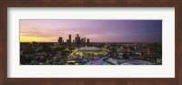 Skyscrapers lit up at sunset, Minneapolis, Minnesota, USA Fine Art Print