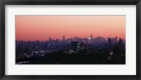 High angle view of buildings lit up at dusk, Manhattan, New York City, New York State, USA Fine Art Print