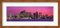 USA, Massachusetts, Boston, View of an urban skyline by the shore at night Fine Art Print