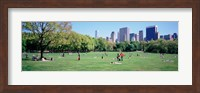 Group Of People In A Park, Sheep Meadow, Central Park, NYC, New York City, New York State, USA Fine Art Print