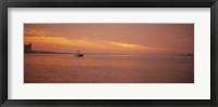 Ferry moving in the sea at sunrise, Boston, Massachusetts, USA Fine Art Print