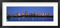 Buildings at the waterfront lit up at night, Boston, Massachusetts, USA Fine Art Print