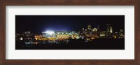 Stadium lit up at night in a city, Heinz Field, Three Rivers Stadium, Pittsburgh, Pennsylvania, USA Fine Art Print