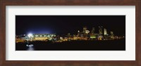 Stadium lit up at night in a city, Heinz Field, Three Rivers Stadium,Pittsburgh, Pennsylvania, USA Fine Art Print