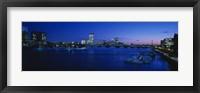 Buildings lit up at dusk, Charles River, Boston, Massachusetts, USA Fine Art Print
