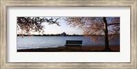 Park bench with a memorial in the background, Jefferson Memorial, Tidal Basin, Potomac River, Washington DC, USA Fine Art Print