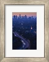 High angle view of highway 101 at dawn, Hollywood Freeway, Hollywood, Los Angeles, California, USA Fine Art Print