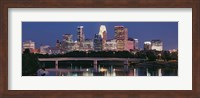 Buildings lit up at night in a city, Minneapolis, Mississippi River, Hennepin County, Minnesota, USA Fine Art Print