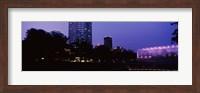 Devon Tower and Crystal Bridge Tropical Conservatory at night, Oklahoma City, Oklahoma, USA Fine Art Print
