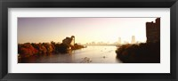 Boats in the river with cityscape in the background, Head of the Charles Regatta, Charles River, Boston, Massachusetts, USA Fine Art Print