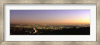 Aerial view of buildings in a city at dusk from Hollywood Hills, Hollywood, City of Los Angeles, California, USA Fine Art Print