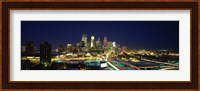 Buildings lit up at night in a city, Minneapolis, Hennepin County, Minnesota, USA Fine Art Print