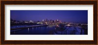 Reflection of buildings in a river at night, Mississippi River, Minneapolis and St Paul, Minnesota, USA Fine Art Print