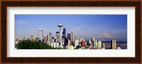 Skyscrapers with mountain in the background, Mt Rainier, Mt Rainier National Park, Space Needle, Seattle, Washington State, USA Fine Art Print