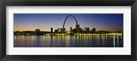 City lit up at night, Gateway Arch, Mississippi River, St. Louis, Missouri Fine Art Print