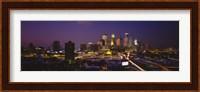Skyscrapers lit up at dusk, Minneapolis, Minnesota, USA Fine Art Print