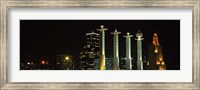 Buildings lit up at night in a city, Bartle Hall, Kansas City, Jackson County, Missouri, USA Fine Art Print