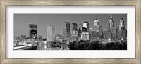 Philadelphia, Pennsylvania Skyline at Night (black and white) Fine Art Print