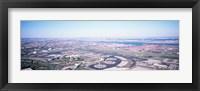 USA, New Jersey, Newark Airport, Aerial view with Manhattan in background Fine Art Print
