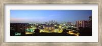 High Angle View Of A City Lit Up At Dusk, Kansas City, Missouri Fine Art Print