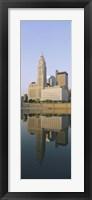 Reflection of buildings in a river, Scioto River, Columbus, Ohio, USA Fine Art Print