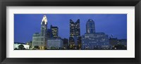 Low angle view of buildings lit up at night, Columbus, Ohio, USA Fine Art Print