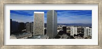 High angle view of a city, San Gabriel Mountains, Hollywood Hills, Century City, City of Los Angeles, California, USA Fine Art Print