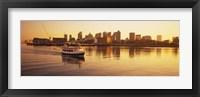 Ferry moving in the sea, Boston Harbor, Boston, Massachusetts, USA Fine Art Print