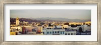 High angle view of a cityscape, San Gabriel Mountains, Hollywood Hills, Hollywood, City of Los Angeles, California Fine Art Print