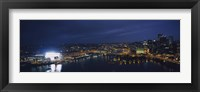 High angle view of buildings lit up at night, Heinz Field, Pittsburgh, Allegheny county, Pennsylvania, USA Fine Art Print